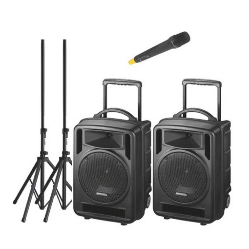 2 x 120w Portable Speaker System   Wireless Mic & CD