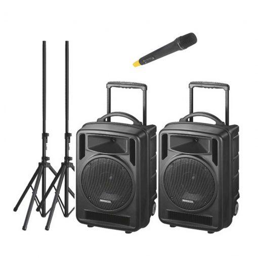 2 x 120w Portable Speaker System   Wireless Mic & CD