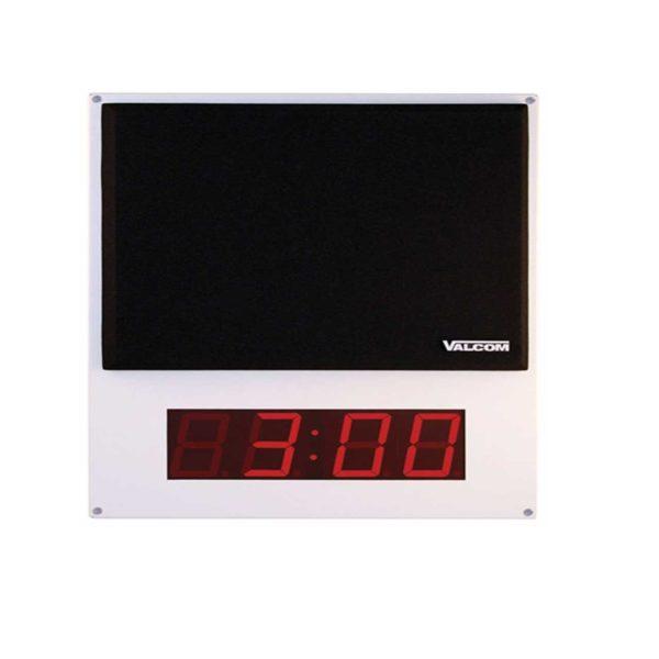 Valcom One-Way Flush Mount IP Speaker Digital Clock Gray w/ Black Grill (VIP-412A-DF)