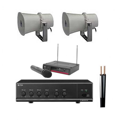 Outdoor Two Horn Speaker Kit with Wireless Microphone