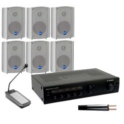6 Compact Wall Speaker Kit with 120w Amplifier